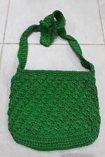 1K219 GREEN HAND MADE MEDIUM SIZE CROCHET SHOULDER BAG NEW BALI $18 FREE POST