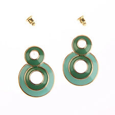 Bohemian Style Blue/Green/Black Two Round Circle Stud Women Hook Earrings