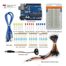 UNO R3 Breadboard Dupont Wire LED 9V Battery Cable Starter kits for Arduino