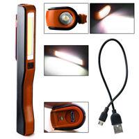 LED Work Light Inspection Lamp COB USB Magnetic Pen Clip Torch Flashlight Useful