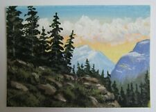 ACEO Original Acrylic Painting Landscape On a Mountain Top by Artist Joan Hutson