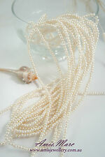 10 Strands(1800 beads) 3mm Cream White/Ivory Imitation Acrylic Round Pearl Beads