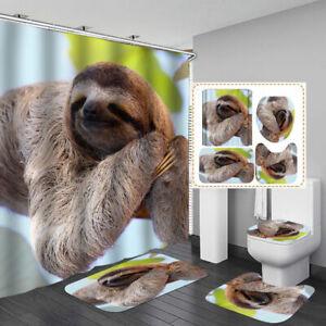 Cute Sloth Shower Curtain Bath Mat Toilet Cover Rug Bathroom Animal Decor
