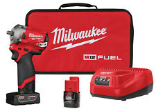 "New Milwaukee M12 FUEL 3/8"" dr Stubby Impact Wrench Kit, 250 ft-lbs #2554-22"