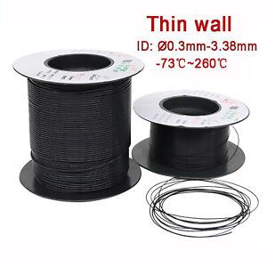 Black PTFE Tube Pipe AWG 150V Tubing, Wall thick 0.15/0.2/0.3mm HIGH TEMP 260℃