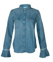 Levi's New Women's Denim Shirt Flared Long Sleeve Buttons Pockets Red Logo BNWT
