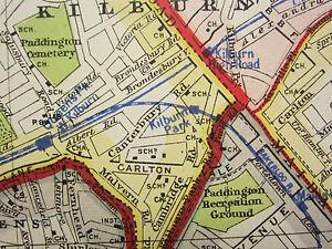 1920 CITY PLAN MAP LONDON NORTH WEST HAMPSTEAD RAILWAY UNDERGROUND HYDE PARK