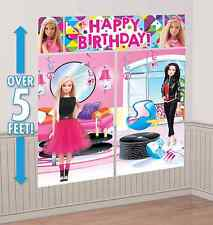 Barbie Sparkle Scene Setter Happy Birthday Wall Decoration Banner Party Supplies