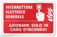 Cartello vinile 4 fori  Interruttore Elettrico: Azionare solo in caso d'incendio