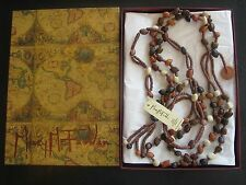 Mary McFadden Belt Necklace New in Designer Signed Box with Tags, Wood 5 Strands