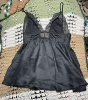 Victoria's Secret Lingerie Chemise Slip Teddy Babydoll M Black Lace Sheer NWT