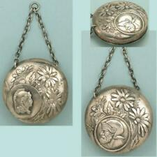 Antique Sterling Silver Chatelaine Pin Cushion * English or American * C1890s