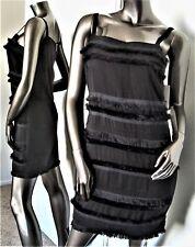 NWT-DKNYC DONNA KAREN BLACK RIBBON FRINGE EXPOSED BACK ZIPPER DRESS SZ-2 MSP$140