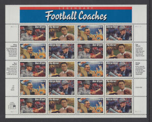 US #3143 - 3146 Football Coaches 32 Cents Complete Sheet of 20 Mint Never Hinged