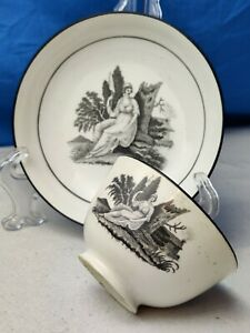 Early 19th C Antique Black Bat Printed Teabowl & Saucer - Liverpool ? Pearlware