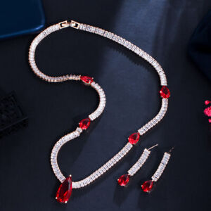 Classy Ruby Red Drop CZ Women Costume Baguette Necklace Earring Gold Jewelry Set