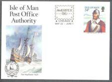 Isle of Man Ameripex Pre-stamped postcard mint unused-The Mayflower-Ships