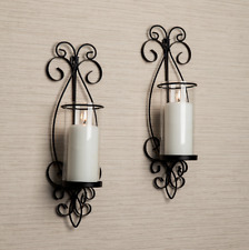 Wall Sconces for Candles Black Iron Metal Glass Votive Home Decor Gift Idea 2 PC