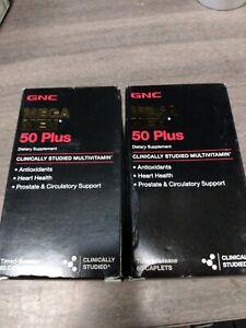 (2) GNC Mega Men 50 Plus Men's Health Support 60 Multivitamins Minerals 07/21++