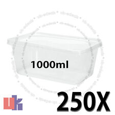 250 Square Plastic Kitchen Food Takeaway Box Container & Lid 1000ml 178x125x75mm