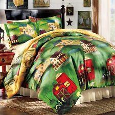 3 PC Country Barn Farm Duvet Cover Shams Full Queen Bedding Home Decor Green Red