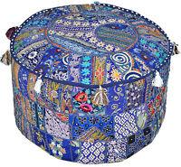 Bohemian Pouf Ottoman pouffe Vintage Patchwork Indian Pouf  Ottoman Seat Pouffe