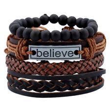 Mens Boys Adjustable Leather Bracelet Surfer Beaded Wrap Wristband Bangle Gifts