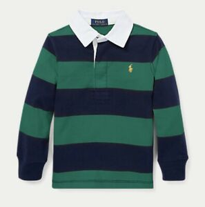 Ralph Lauren Kids Boy Navy Green Striped Long Sleeve Rugby Polo Shirt 2y-20y £65