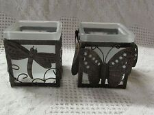Two Metal & Glass Candle Holders, Butterfly & Dragonfly