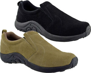Mens Womens Slip On Twin Gusset Walking Hiking Leather Suede Shoes Trainers Size