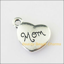 4Pcs Antiqued Silver Tone Heart Mom Words Charms Pendants 16x18mm