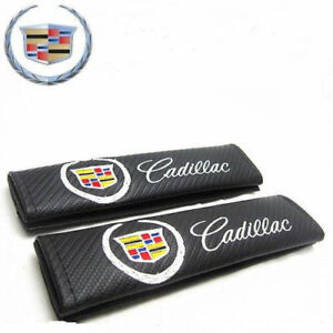 NEW 2PCS Carbon Fiber Look Embroidery Seat Belt Cover Shoulder Pads for CADILLAC