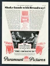 1929 Marx Brothers photo The Cocoanuts movie release vintage print ad