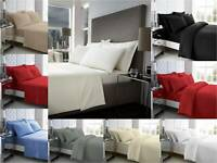 100% EGYPTIAN COTTON 200 / 400 / 500 THREAD COUNT DUVET COVER SET / FITTED SHEET