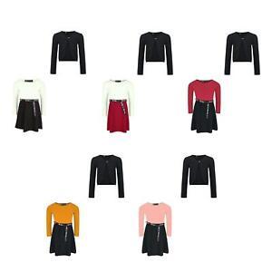 Girls Tik Tok Belt Skater Dress Lace Front Bolero Shrug Cardigan Set Bundle 3-14