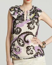 Nwt $228 Kate Spade New York MISSY Paisley Top Blouse Shirt Tank ~Purple *0