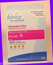 3 Vacuum Bags Febreze HOOVER A Uprights ELIMINATES ODOR 100% Allergen Filtration