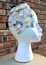 Antique Millinery Ladies Hat Headband w/ Lovely White Flowers & a Black Bow Veil