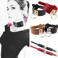 Vintage Punk Wide PU Leather O Ring Collar Choker Necklace Women Gothic Jewelry