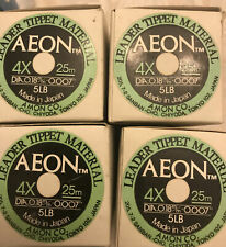48 Rolls Fly line Leader tippet material by Aeon 4x 5 Lb Dia 0.18 25 M Nos Mib
