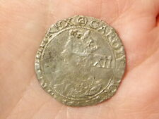 1641-43 Tower Mint CHARLES I Hammered Silver Shilling mm Triangle in Circ  #EE22