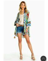 NWT Designer Johnny Was Cassie Reversible Silk Kimono  XS Wrap Top cardigan