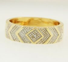 9Carat Yellow Gold Diamond Chevron Patterned  Band (Size S 1/2) 6mm Head