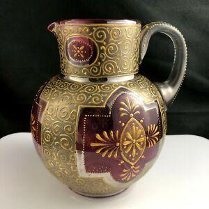 "🟢 RARE Moser Cranberry Art Glass Gold Platinum Enamel 6 1/4"" Pitcher c. 1885"