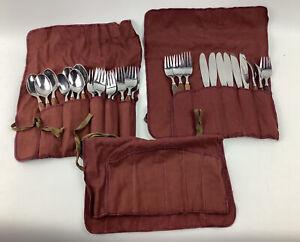 27 Stainless Mid Century Danish  Teak Wood Handle Flatware