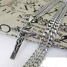 New Mens Retro Stainless Steel Big Cross Pendant With Chain Matching Silver Tone