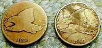 PAIR 1858 Flying Eagle Cents Copper Nickel Civil War Era