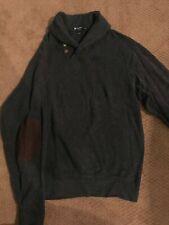 Daniel Cremieux Men Shawl Cotton Sweater Grey SIZE MED