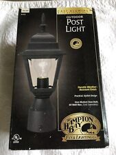 "NIB Hampton Bay Outdoor Post Light Black with Beveled Glass & 3"" Pier Base"