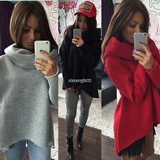 Donne Collo alto Manica lunga Pullover Maglia maglione Felpe con cappuccio Top